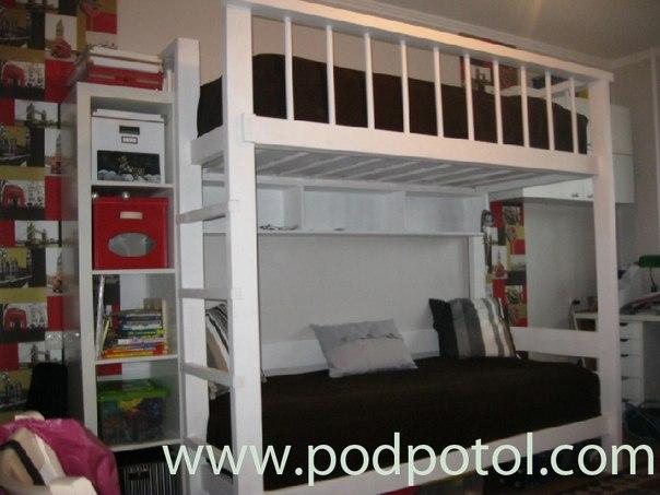 Сделать двухъярусную кровать с диваном внизу своими руками