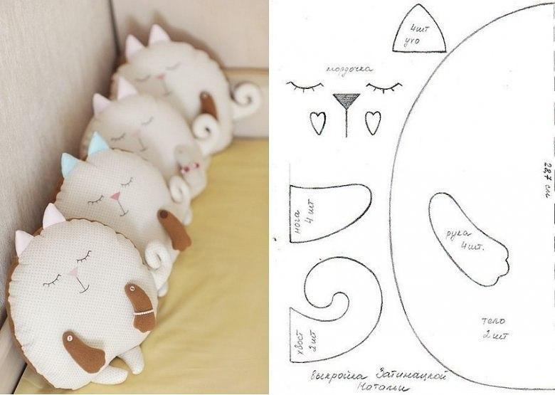 Как сшить подушку кота