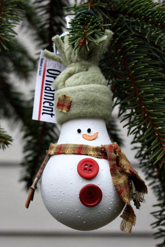 Снеговик из лампочки своими руками как сделать