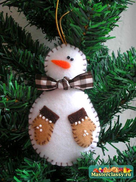 Елочная игрушка снеговика своими руками
