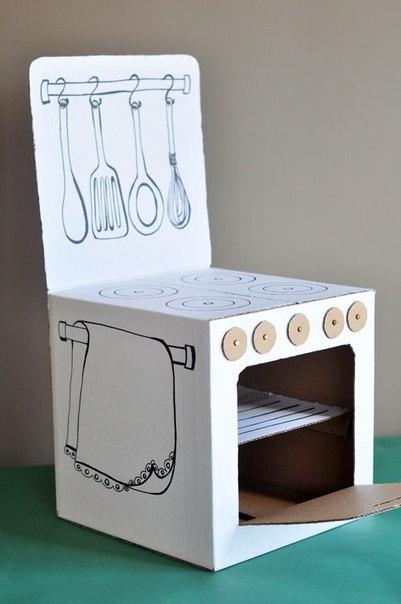 Как сделать кукольную кухню из картона